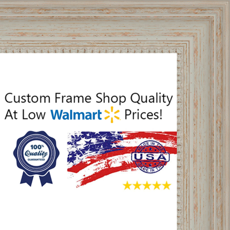12x36 12 X 36 Traditional Nautical White Washed Wood Frame Solid
