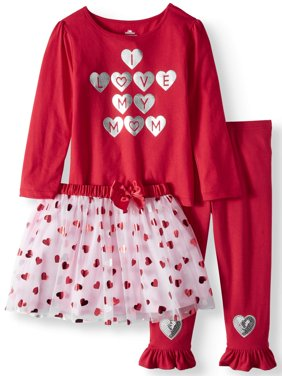 Product Image Valentine's Day Long Sleeve T-Shirt, Leggings & Tutu 3pc Outfit Set (Toddler