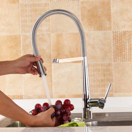 Deck Mount Basin Set - 360 bathroomfaucet Degree Revolving Goose Neck Deck Mounted Hot Cold Tap Pull-Down Basin Sink Faucet