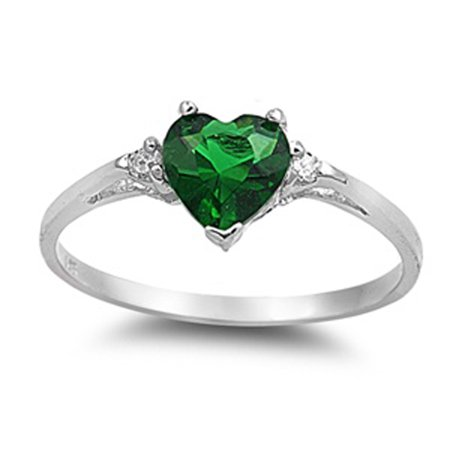 CHOOSE YOUR COLOR Sterling Silver Simulated Emerald Heart Ring Love Ring Love Band Solid 925 (Simulated Emerald/Ring Size 10)