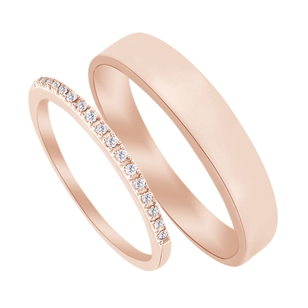 14k Diamond Cut Baseball - Round Cut White Natural Diamond His and Hers Wedding Band Set in 14K Rose Gold (0.1 Cttw)