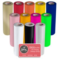 "Siser EasyWeed Heat Transfer Vinyl, 15"" x 3' Rolls, 12 Pack Top Colors with Design Card"