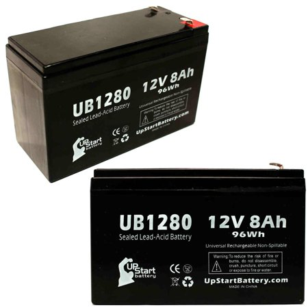 2x Pack - Compatible Saft SP2009 RECORDER Battery - Replacement UB1280 Universal Sealed Lead Acid Battery (12V, 8Ah, 8000mAh, F1 Terminal, AGM, SLA) - Includes 4 F1 to F2 Terminal Adapters