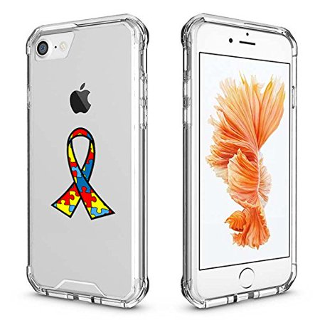 For Apple iPhone Clear Shockproof Bumper Case Hard Cover Autism Awareness Ribbon Puzzle Color (Clear For iPhone 8)](Color For Autism)