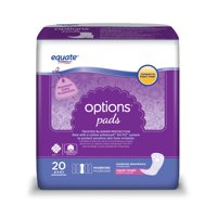 Equate Options Incontinence Pads for Women, Moderate, Regular, 20 Ct