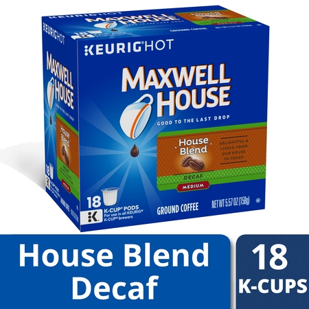 Maxwell House House Blend Decaffeinated Coffee K Cup Pods, Decaffeinated, 18 ct - 5.57 oz (Decaffeinated K-cups)