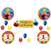SESAME STREET 1st Banner Happy Birthday Party Balloons Decoration Supplies Elmo Cookie Monster First