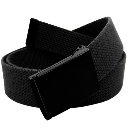 Men's Black Flip Top Military Belt Buckle with Canvas Web Belt Small