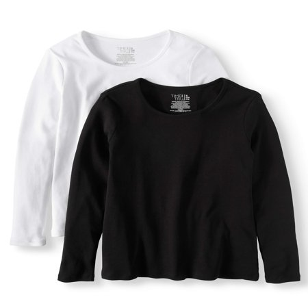 Women's Long Sleeve Scoop Neck T-Shirt, 2 Pck Bundle (40 Time T-shirt)