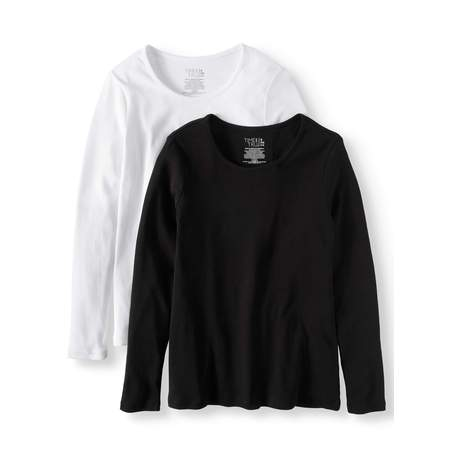 Carry On Long Sleeve - Women's Long Sleeve Scoop Neck T-Shirt, 2 Pck Bundle