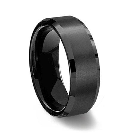 Gemini Black Groom or Bride Comfort-Fit Beveled Edge Plain Wedding Band Ttianium Ring Valentine