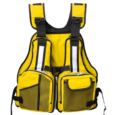 Adult Universal Fishing Life Jacket Boating Kayaking Drift Life Vest with Multi-Pockets and Reflective Stripe