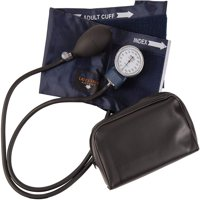 "Mabis Precision Series Manual Blood Pressure Cuff with Aneroid Sphygmomanometer Kit, Portable Blood Pressure Monitor with Calibrated Blue Nylon Cuff and Carrying Case, Cuff Size 11"" to 16.4"", Adult"