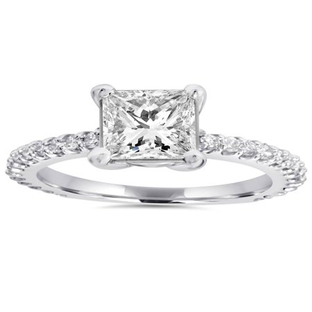 Princess Diamond Engagement Setting (Princess Cut Diamond Engagement Ring 1.30Ct Big 14K White Gold)