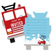 Fired Up Fire Truck - Shaped Fill-In Invitations - Firefighter Firetruck  Baby Shower or faa15542ad