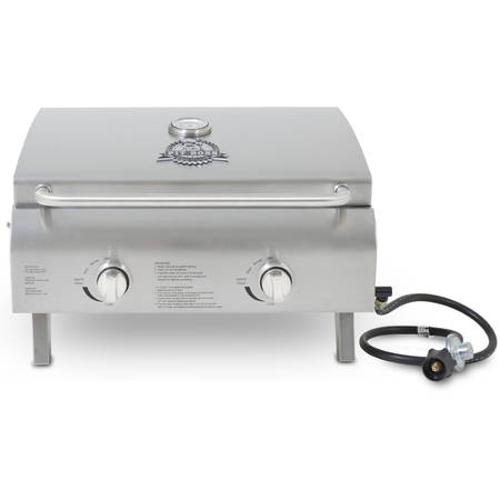 Great Outdoors Stainless Steel Grill (Pit Boss 2-Burner Portable Gas Grill, Stainless)