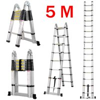 Finether 16.4ft Aluminum Folding Multi-purpose Telescoping Ladder with Finger Protection Spacers, Anti-slip Treads and 331 lbs Capacity