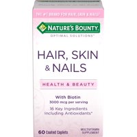 Nature's Bounty Optimal Solutions Hair, Skin and Nails Multivitamin Supplement Coated Caplets, 60 Ct