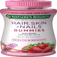 Nature's Bounty Optimal Solutions Hair, Skin and Nails 80 Gummies with Biotin, Strawberry Flavored