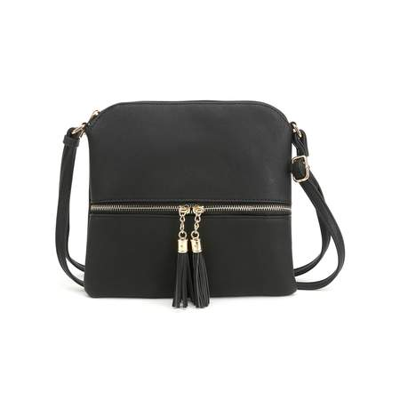 Deluxity Tassel Crossbody Purse- Black Black Across Body Bag