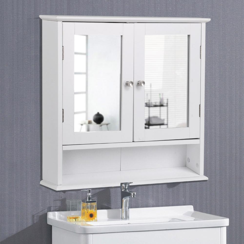 Exceptionnel Wooden Bathroom Wall Mount Medicine Cabinet With Mirror Doors Adjustable  Shelf