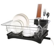 Generic Dish Drying Rack 304 Stainless Steel Professional 2 Tier Dish Drying Drainer Rack Large Capacity with Microfiber Mat Kitchen Utensil Holder