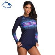 8b22ed91 Women's Long Sleeve Rashguard Sun Protection Shirt Banded Crewneck Swimwear  Perfect for Surfing, Swimming,