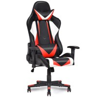 Gymax High Back Executive Racing Style Recliner PVC Chair Gaming Chair