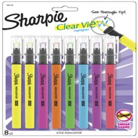 Sharpie Clear View Highlighter Stick, Chisel Tip, Assorted Fluorescent, 8 Pack