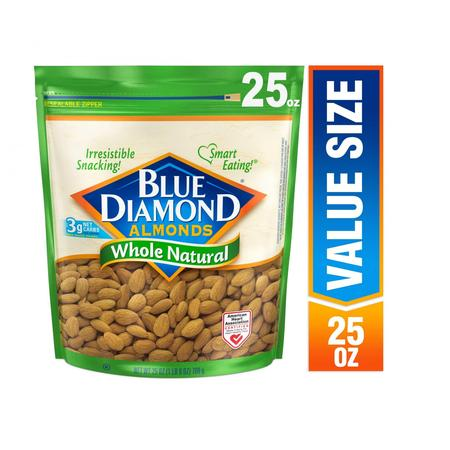 Blue Diamond Whole, Raw, Natural Almonds, 25 Oz