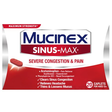 Mucinex Sinus-Max Severe Congestion Relief Caplets, 20 count, Triple Action (Severe Congestion)