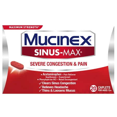 Mucinex Sinus-Max Severe Congestion Relief Caplets, 20 count, Triple Action -
