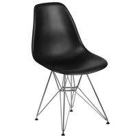 Flash Furniture Elon Series Black Plastic Chair with Chrome Base