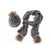 Womens Ladies Fur Pom Crochet Knit Hats Beanie + Scarf Neck Warmer Sets Ski  Cap a4f0e484817