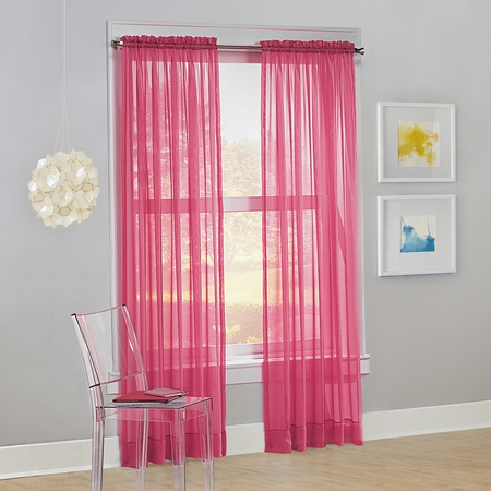 Pink Tab Top Curtains - No. 918 Siren Voile Sheer Rod Pocket Curtain Panel