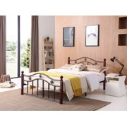 Hodedah Complete Bronze Metal Bed with Headboard, Footboard, Slats and Rails in Twin Size