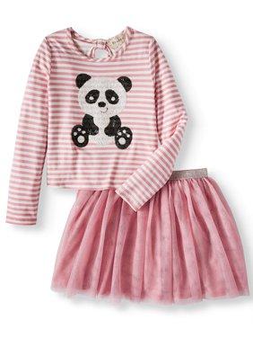 Girls' Sequin Panda Long Sleeve Tee and Mesh Tutu Skirt, 2-Piece Outfit Set
