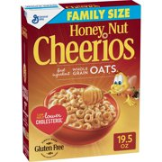 (2 Pack) Honey Nut Cheerios, Gluten Free, Cereal, Family Size, 19.5 oz Box