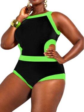 Starvnc Women's Plus-Size Maxi Swimsuit Fluorescent Open Back Swimwear