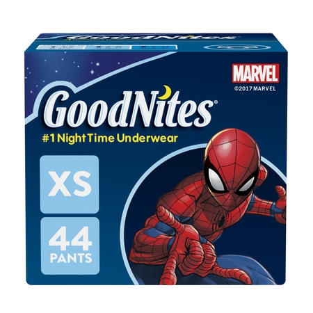 Goodnites Diapers Boys Underpants (GoodNites Bedtime Bedwetting Underwear for Boys, Size XS, 44 Count )