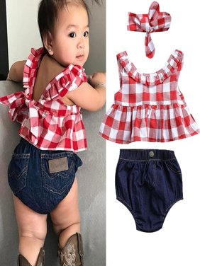3x Newborn Toddler Baby Girl Clothes Romper Bodysuit+Headband Sunsuit Outfit Set 0-3 Years