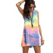 1526dc41618d1 Women s Sleeveless V Neck Tie Dye Tunic Tops Casual Swing Tee Shirt Dress