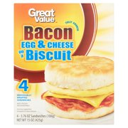 Great Value Fully Cooked Bacon Egg & Cheese on a Biscuit Sandwiches, 15 oz, 4 count
