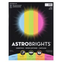 Astrobrights Colored Cardstock, 8.5 x 11, 65 lb, Bright Assort., 50 Shts