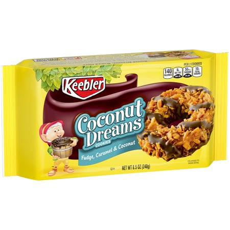 (2 Pack) Keebler Coconut Dreams Cookies, Fudge, Caramel & Coconut, 8.5 Oz - Premade Halloween Cookies