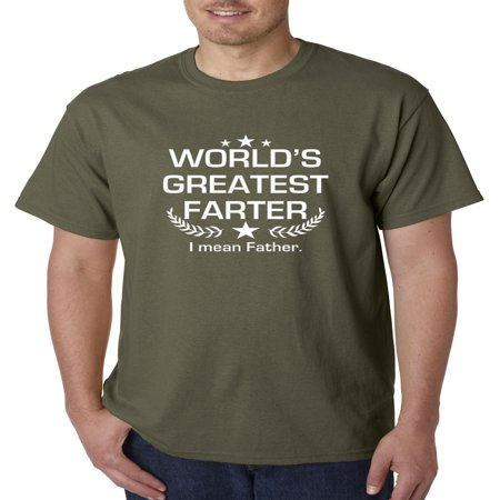 New Way 1121 - Unisex T-Shirt World's Greatest Farter I Mean Father XL Military