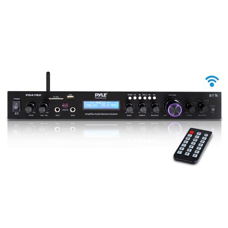 Pyle Home PDA7BU Theater Audio Receiver Sound System with - Battery Bluetooth Audio