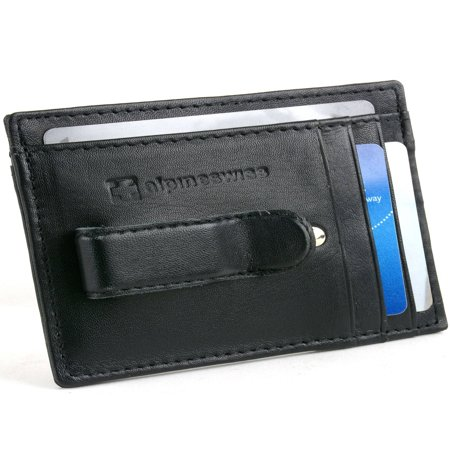 Front Fold Wallet - Alpine Swiss Mens Leather Wallet Money Clip Bifold Trifold Front Pocket Wallets