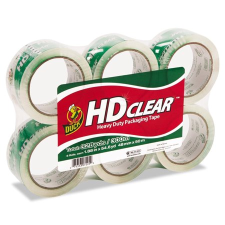 Duck HD Clear Packing Tape, 1.88 in. x 54.6 yd., Clear, -