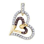 10K Yellow Gold 0.30ct Shiny Shared Prong Brown Diamond Heart Fashion Pendant